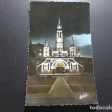Postales: LOURDES FRANCIA LA BASILICA ILUMINADA. Lote 178157245