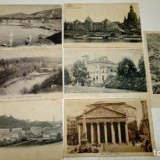Postales: LOTE DE 7 POSTALES DE CIUDADES EUROPEAS: GINEBRA (2), NOSSEN, ROMA, DRESDEN, CLUJ (2) EN RUMANIA . Lote 178907656
