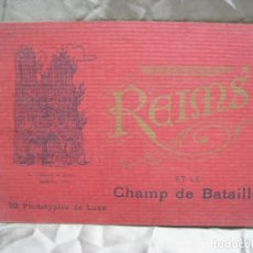 Postales: REIMS ET LE CHAMP DE BATAILLE. FRANCIA. FRANCE. BAUDINIERE. ALBUM 32 FOTOTIPIAS. Lote 180104657