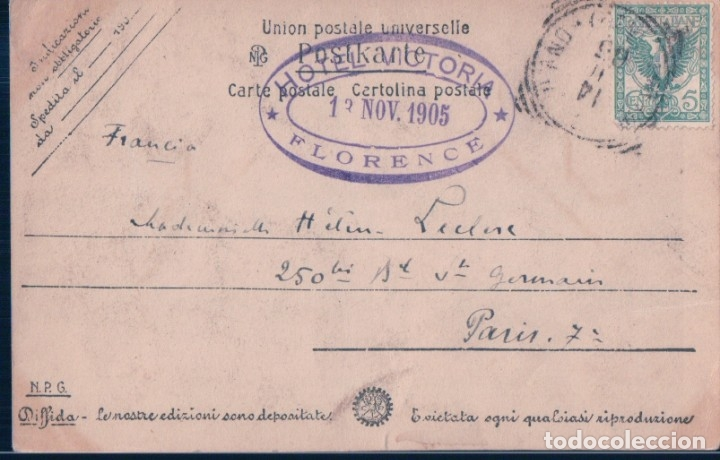 Postales: POSTAL FIRENZE - MADONNO DEL BAMBINO E ANGELI BOTTICELLI - GALL UFFIZI - TAMPON HOTEL VICTORIA - Foto 2 - 182825072