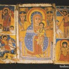 Postales: ICONO COPTO SIGLO XIX - TRIPTICO DE LA VIRGEN Y EL NIÑO - ICÔNES - S/C. Lote 182911517