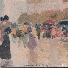 Postales: POSTAL DIBUJO LE BOULEVARD DE CLICHY - FRANCIA. Lote 182962557