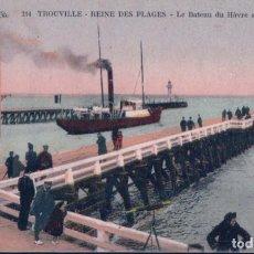 Postales: POSTAL FRANCIA - TROUVILLE - REINE DES PLAGES - LE BATEAU DU HAVRE SORTANT DU PORT. Lote 183891381