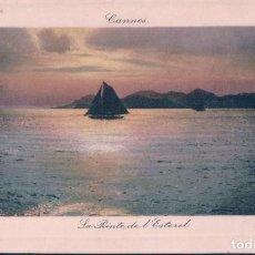 Postales: POSTAL CANNES - LA POINTE DE L'ESTEREL - LL - BARCO - ATARDECER. Lote 184078058