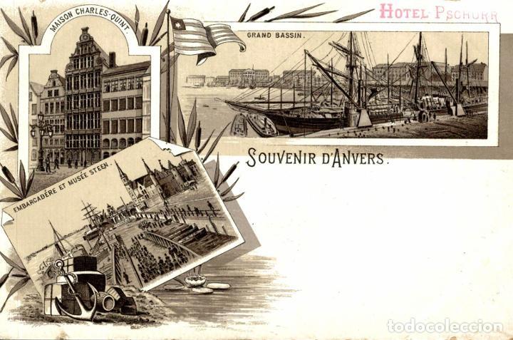 ANVERS ANTWERPEN SOUVENIR DANVERS HOTEL PSCHORR (Postales - Postales Extranjero - Europa)