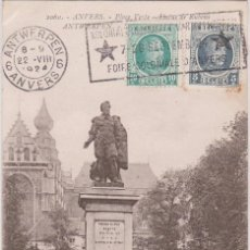 Postales: 1924 ANVERS ANTWERPEN ANVERS ANTWERPEN PLACE VERTE STATUE RUBENS GROENPLAATS STANDBEELD RUBENS. Lote 185712158