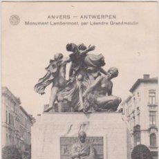 Postales: 1924 CPA ANVERS ANTWERPEN, STANDBEELD LAMBERMONT, MONUMENT LAMBERMONT. Lote 185712185