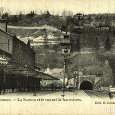 Postales: CLICHE TRES RARE ESNEUX SOUVENIR D - LA STATION ET LE TUNNEL DE 600 MÈTRES. Lote 185718177