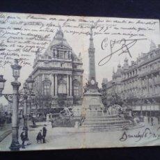 Postais: POSTAL ANTIGUA DOBLE BRUSELAS ANSPACH MONNUMENT CIRCULADA. Lote 186137496