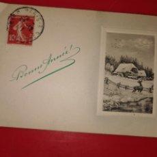 Postales: POSTAL ENVIADA DESDE PARIS EL 22-12-1911 FELICITANDO EL NUEVO AÑO AL SEÑOR LITA Y FAMILIA EN MADRID . Lote 189311247