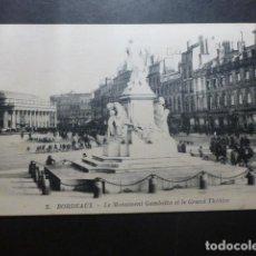 Postales: BURDEOS FRANCIA EL MONUMENTO A GAMBETTA. Lote 191030547