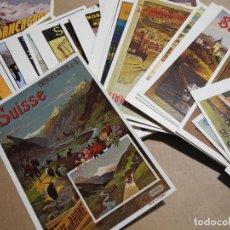 Cartoline: 41 POSTALES. ILUSTRACIONES DE PASISAJES DE SUIZA. HOTELES, TRENES, COCHES, MONTAÑAS. PUEBLOS. Lote 191821417