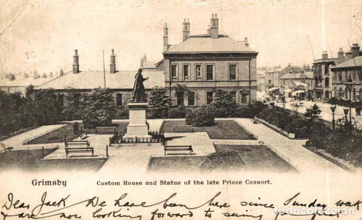 GRIMSBY, CUSTOM HOUSE AND STATUE OF THE LATE PRINCE CONSORT. REINO UNIDO (Postales - Postales Extranjero - Europa)