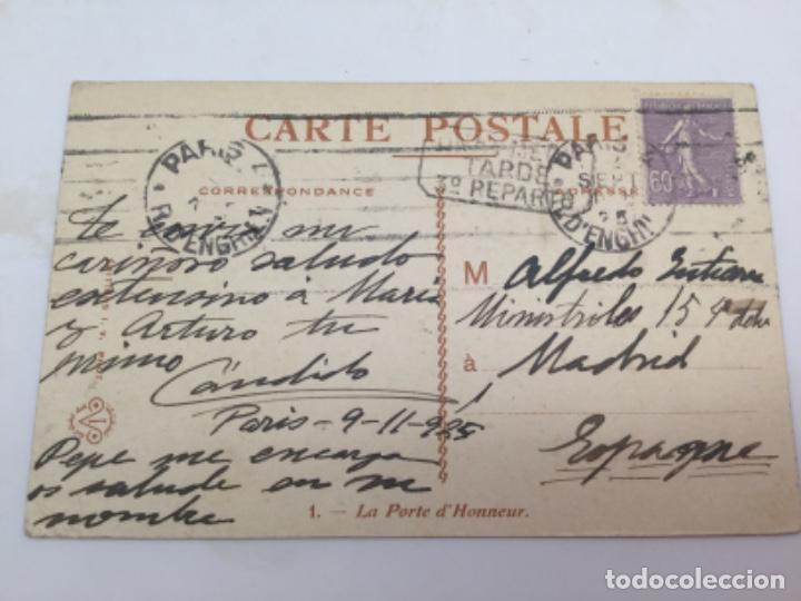 Postales: Postal La Puerta del Honor, Palacio de Versalles. Francia 1925 - Foto 3 - 193086643