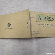 Postales: BLOCK COMPLETO 10 POSTALES 1927 BRUJAS BRUGES ' BASILIQUE DU SAINT SANG ' PINTURA BELGICA +. Lote 194238126