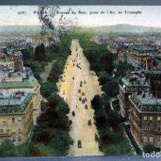 Postales: POSTAL PARÍS AVENUE DU BOIS PRISE DE ARC TRIOMPHE CIRCULADA 1910. Lote 194290793