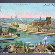 Postales: POSTAL PARÍS VUE GÉNÉRALE NOTRE DAME AQUA PHOTO CIRCULADA SELLO 1910. Lote 194291221