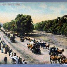 Postales: POSTAL LONDON LONDRES HYDE PARK ROTTEN ROW CARRUAJES GENTE PASEO SIN CIRCULAR HACIA 1900. Lote 194305902