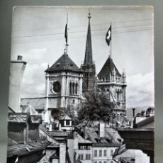 Postales: POSTAL GENEVE GINEBRA SUIZA TOURS ST PIERRE JAEGER CIRCULADA SELLO 1962. Lote 194307062