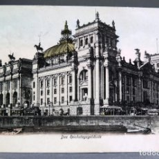 Postales: POSTAL BERLÍN ALEMANIA DAS REICHSTAGSGEBÄUCHE BEHR & FLETCHER CIRCULADA SELLO 1906. Lote 194307456