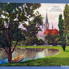 Postales: POSTAL LEIPZIG ALEMANIA JOHANNAPARK MIT LUTHERKIRCHE TRINKS & CO CIRCULADA SELLO 1911. Lote 194307888