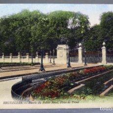 Postales: POSTAL BRUXELLES BRUSELAS BÉLGICA ENTRÉE DU PALAIS ROYAL PLACE DE TRONE ND CIRCULADA SELLO H 1910. Lote 194780891