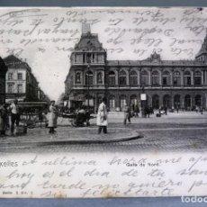 Postales: POSTAL BRUXELLES BRUSELAS BÉLGICA GARE DU NORD NELS SERIE 1 Nº 2 ANIMADA SIN DIVIDIR CIRCULADA 1902. Lote 194781180