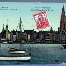 Postales: POSTAL ANVERS AMBERES ANTWERPEN BÉLGICA PANORAMA VILLE ET ESCAUT CIRCULADA SELLO 1912. Lote 194789196