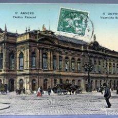 Postales: POSTAL ANVERS AMBERES ANTWERPEN BÉLGICA THÉÂTRE FLAMAND CIRCULADA SELLO 1912. Lote 194789250