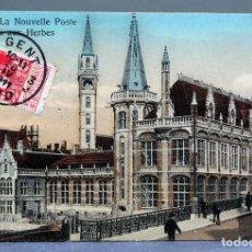 Postales: POSTAL GAND GANTE GENT BÉLGICA NOUVELLE POSTE QUAI AUX HERBES INNOVATION CIRCULADA SELLO 1911. Lote 194789452