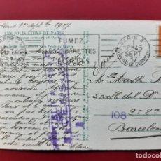 Postales: PARIS-PRINCIPIOS DE SIGLO-CON SELLO Y TIMBRE-CENSURADA. Lote 195027165