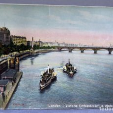 Postales: POSTAL LONDON LONDRES VICTORIA EMBANKMENT & WATERLOO BRIDGE E1229 SIN CIRCULAR HACIA 1900. Lote 195083771