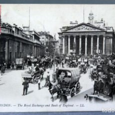 Postales: POSTAL LONDON LONDRES THE ROYAL EXCHANGE AND BANK OF ENGLAND CARROS GENTE LL CIRCULADA SELLO 1911. Lote 195103330