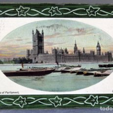 Postales: POSTAL LONDON LONDRES HOUSES OF PARLIAMENT BARCOS NATIONAL SERIES CIRCULADA SELLO 1911. Lote 195104093