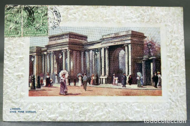 POSTAL DIBUJO LONDON LONDRES HYDE PARK CORNER RAPHAEL TUCK & SONS OILETTE CIRCULADA SELLO 1911 (Postales - Postales Extranjero - Europa)