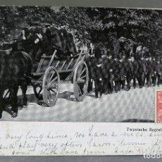 Postales: POSTAL FOTOGRÁFICA PAÍSES BAJOS TWENTSCHE BEGRAFENIS ENTIERRO CAMPESINO HENGELO 1903 CIRCULADA 1911. Lote 195281305