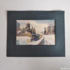 Postales: POSTAL PINTADA A MANO DE SAN PETERSBURGO, RUSIA. Lote 195468905