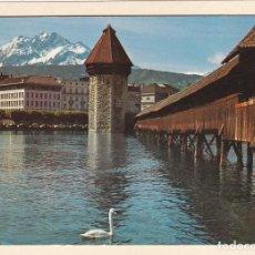 Postales: POSTAL PUENTE DE LA CAPILLA. LUCERNA (SUIZA). Lote 195515338