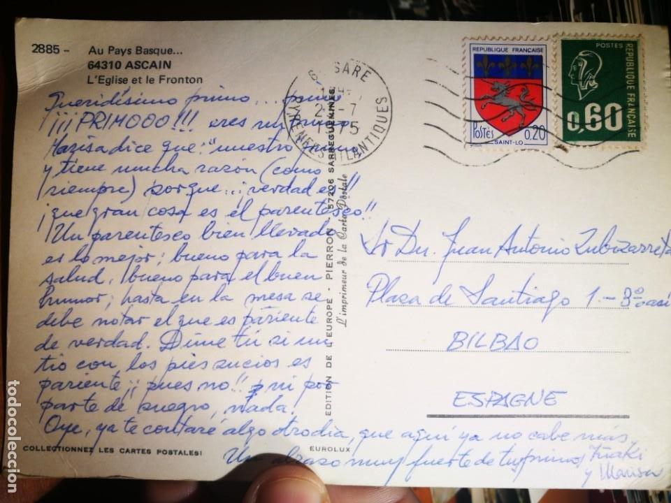 Postales: Postal Su Pays Básquet Ascain LEglise et le Frontón 1975 escrita y sellada esquinas pelín tocadas - Foto 2 - 198614618