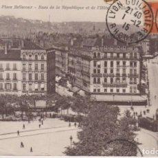 Cartes Postales: FRANCIA LYON PLAZA BELLECOUR TRANVIAS 1915 POSTAL CIRCULADA. Lote 200020683
