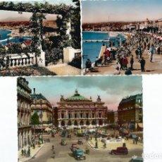 Postales: 2 POSTALES DE NIZA Y 1 DE PARIS. COLOREADAS. AÑOS 50.. Lote 200791156