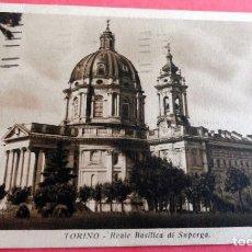 Postales: POSTAL - TORINO - REALE BASILICA DE SUPERGA - CIRCULADA AÑO 1935 CON SELLOS Y MATASELLOS. Lote 201330810