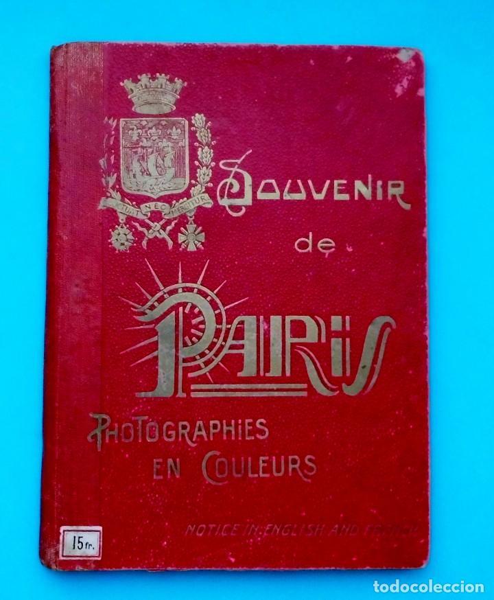 ANTIGUO SOUVENIR DE PARIS, PHOTOGRAPHIES EN COULEURS (Postales - Postales Extranjero - Europa)