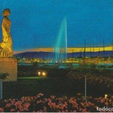 Postales: SUIZA, GINEBRA, VISTA NOCTURNA DE LA ESTATUA DE LA BRISA - S/C. Lote 206277037