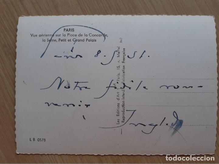 Postales: TARJETA POSTAL - PARÍS VISTA AÉREA EN EL LUGAR DE LA CONCORDE LA SEINE PALACIO PEQUEÑO Y GRANDE - Foto 2 - 206321361