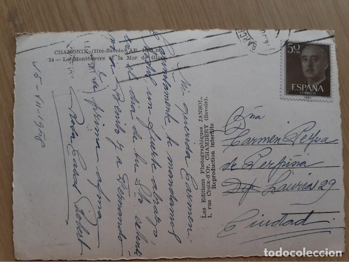 Postales: TARJETA POSTAL - FRANCIA - CHAMONIX LOS MONTENVERS Y EL MAR DE HIELO - Foto 2 - 206326116