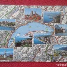 Postales: POST CARD SCHWEIZ SUIZA SUISSE SWITZERLAND LAC LAGO LEMAN LAKE VISTAS VARIAS MAPA MAP CARTE...VIEWS.. Lote 206902543