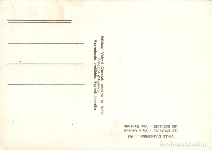 Postales: POSTAL VALLS DANDORRA - LES ESCALDES - VISTA GENERAL - 943 - VALENTI CLAVEROL - Foto 2 - 210191755