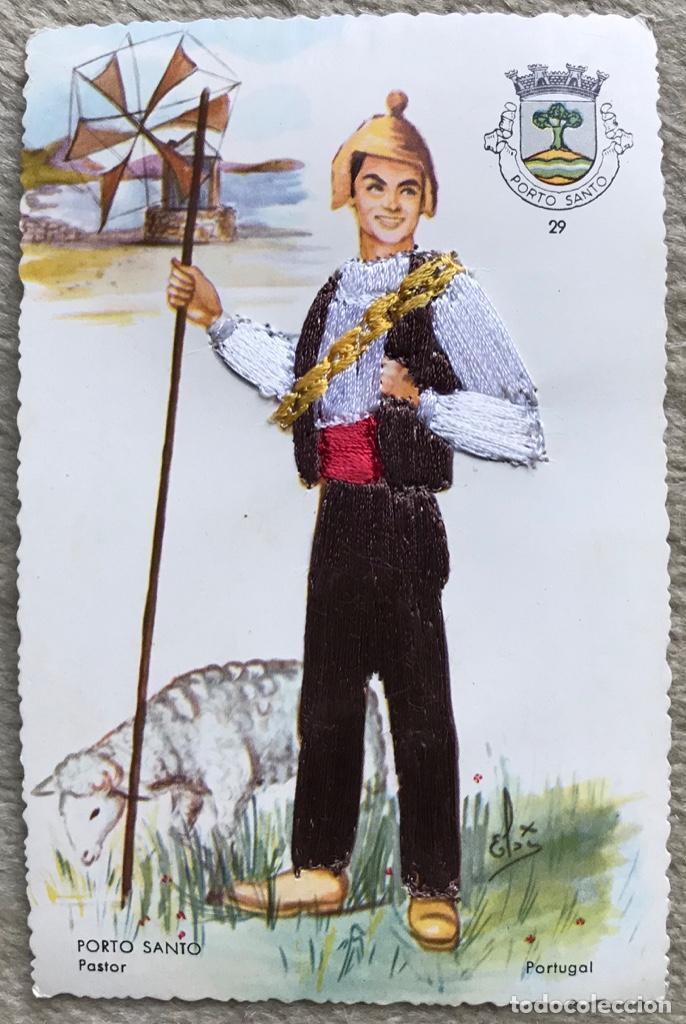 TARJETA POSTAL BORDADA DE UN PASTOR - PORTO SANTO - PORTUGAL (TRAJE TÍPICO - ETNOGRAFIA) (Postales - Postales Extranjero - Europa)
