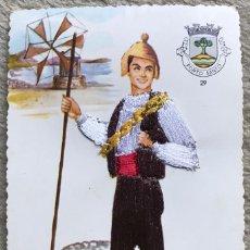 Postais: TARJETA POSTAL BORDADA DE UN PASTOR - PORTO SANTO - PORTUGAL (TRAJE TÍPICO - ETNOGRAFIA). Lote 211904205